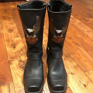 Harley Davidson eagle leather riding boot men's size 9 Officially licensed